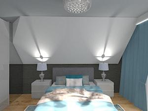 Sypialnia - Średnia szara zielona sypialnia małżeńska na poddaszu, styl tradycyjny - zdjęcie od ALI DECOR ALINA KOWALSKA PROJEKTOWANIE I ARANŻACJA WNĘTRZ