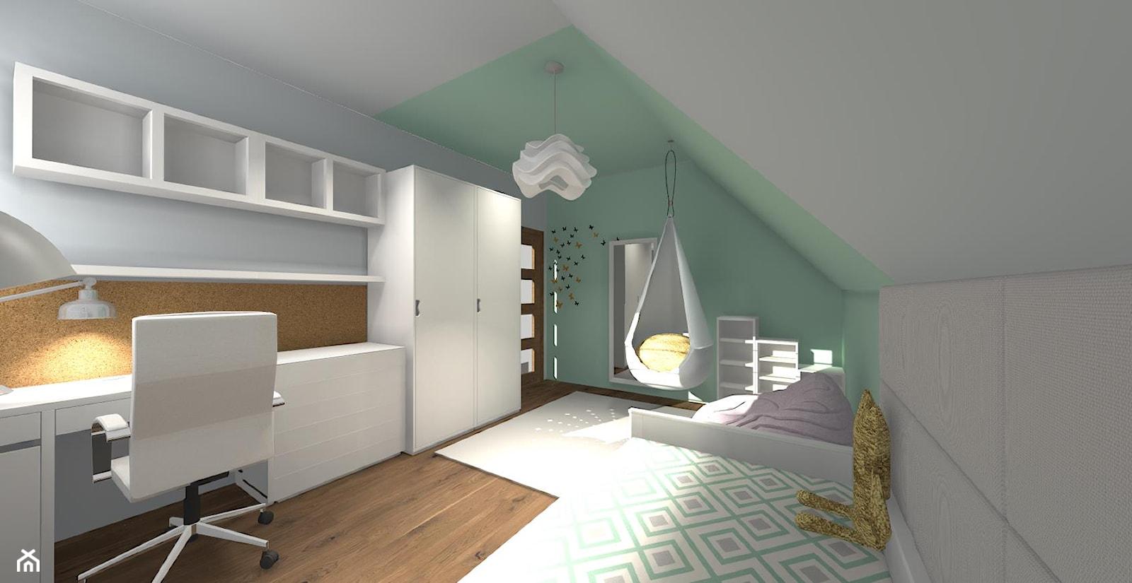Pokój dla dziewczynki - Duży biały zielony pokój dziecka dla chłopca dla dziewczynki dla ucznia dla nastolatka, styl nowoczesny - zdjęcie od ALI DECOR ALINA KOWALSKA PROJEKTOWANIE I ARANŻACJA WNĘTRZ - Homebook