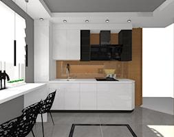 Kuchnia biała z drewnem - Duża zamknięta biała szara kuchnia dwurzędowa z oknem, styl nowoczesny - zdjęcie od ALI DECOR ALINA KOWALSKA PROJEKTOWANIE I ARANŻACJA WNĘTRZ