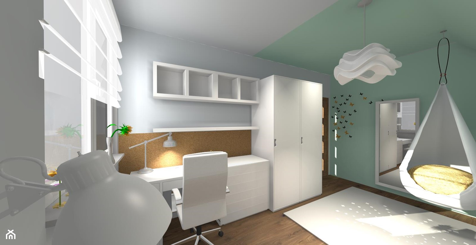 Pokój dla dziewczynki - Średni szary zielony pokój dziecka dla chłopca dla dziewczynki dla ucznia dla malucha dla nastolatka, styl nowoczesny - zdjęcie od ALI DECOR ALINA KOWALSKA PROJEKTOWANIE I ARANŻACJA WNĘTRZ - Homebook
