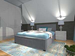 Sypialnia - Duża biała szara sypialnia małżeńska na poddaszu, styl tradycyjny - zdjęcie od ALI DECOR ALINA KOWALSKA PROJEKTOWANIE I ARANŻACJA WNĘTRZ