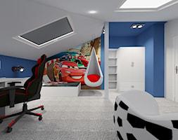 Poddasze- pokoje dziecięce - Duży szary niebieski pokój dziecka dla chłopca dla ucznia dla malucha dla nastolatka, styl nowoczesny - zdjęcie od ALI DECOR ALINA KOWALSKA PROJEKTOWANIE I ARANŻACJA WNĘTRZ