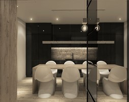 Projekt mieszkania we Wrocławiu - Średnia zamknięta czarna szara jadalnia jako osobne pomieszczenie, ... - zdjęcie od CUDO STUDIO - Homebook