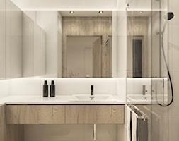 Projekt mieszkania we Wrocławiu - Mała biała łazienka w bloku w domu jednorodzinnym bez okna, styl ... - zdjęcie od CUDO STUDIO - Homebook