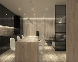 Projekt mieszkania we Wrocławiu - Średnia otwarta czarna jadalnia w kuchni, styl minimalistyczny - zdjęcie od CUDO STUDIO - Homebook