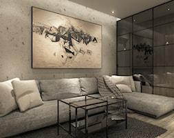 Projekt mieszkania we Wrocławiu - Średni szary salon, styl minimalistyczny - zdjęcie od CUDO STUDIO - Homebook