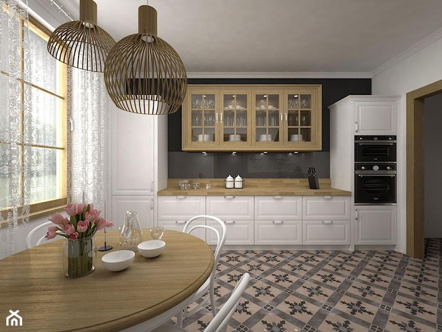 Kuchnia rustykalna  Duża otwarta kuchnia dwurzędowa, styl rustykalny  zdjęc   -> Kuchnia Rustykalna Kraków