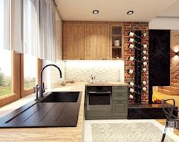 Projekt domu 45 m2 / Bochnia - Średnia otwarta biała brązowa kuchnia w kształcie litery l z oknem, styl eklektyczny - zdjęcie od BIG IDEA studio projektowe