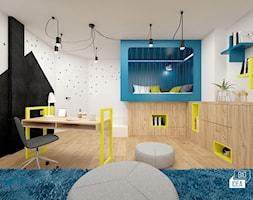 Projekt willi 300 m2 cz. I / Bochnia - Duży biały niebieski czarny pokój dziecka dla chłopca dla dziewczynki dla ucznia dla malucha dla nastolatka, styl nowoczesny - zdjęcie od BIG IDEA studio projektowe