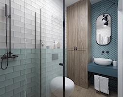 Projekt domu 107,52 m2 / Wieliczka - Mała biała niebieska łazienka bez okna, styl eklektyczny - zdjęcie od BIG IDEA studio projektowe
