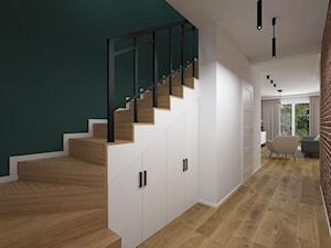 Projekt domu 90 m2 / Kraków - Średni biały zielony hol / przedpokój, styl eklektyczny - zdjęcie od BIG IDEA studio projektowe
