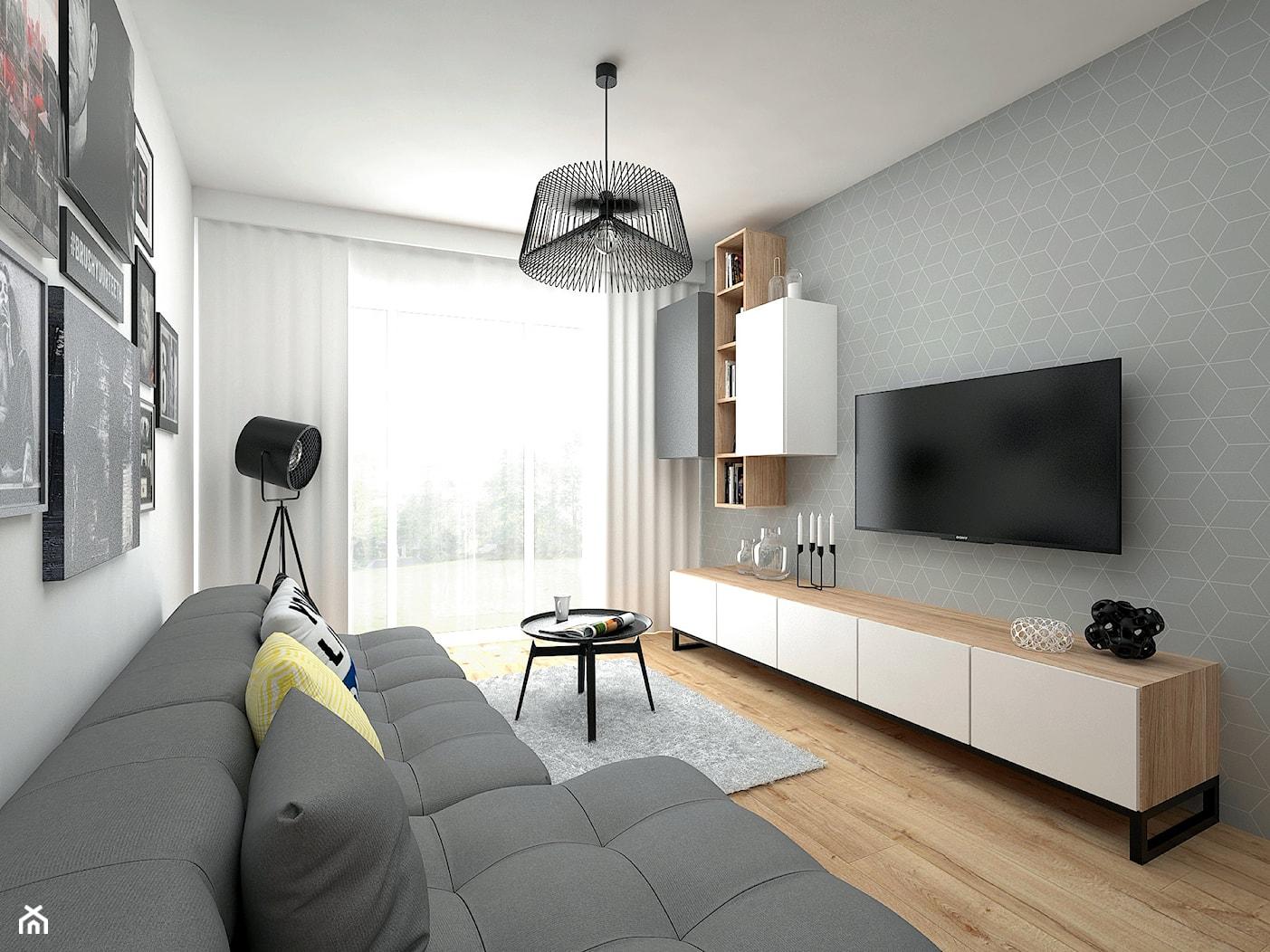 Projekt mieszkania 35 m2 / Kraków - Mały szary biały salon z bibiloteczką z tarasem / balkonem, styl skandynawski - zdjęcie od BIG IDEA studio projektowe - Homebook