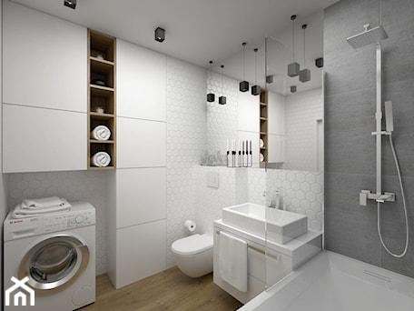 Aranżacje wnętrz - Łazienka: Projekt łazienki 5 m2 / Kraków - Średnia biała szara łazienka w domu jednorodzinnym, styl minimalis ... - BIG IDEA studio projektowe. Przeglądaj, dodawaj i zapisuj najlepsze zdjęcia, pomysły i inspiracje designerskie. W bazie mamy już prawie milion fotografii!
