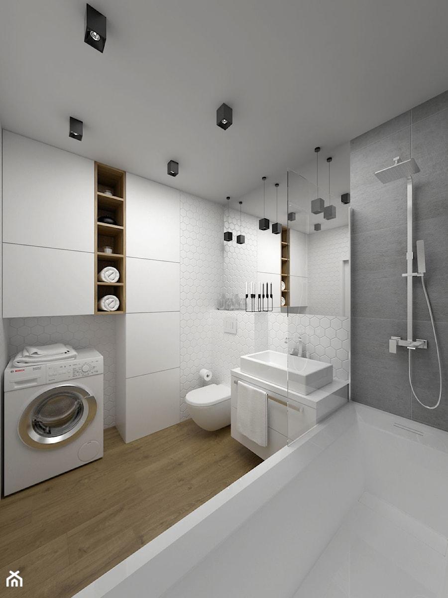 Projekt łazienki 5 m2 / Kraków - Średnia biała szara łazienka w domu jednorodzinnym, styl minimalistyczny - zdjęcie od BIG IDEA studio projektowe