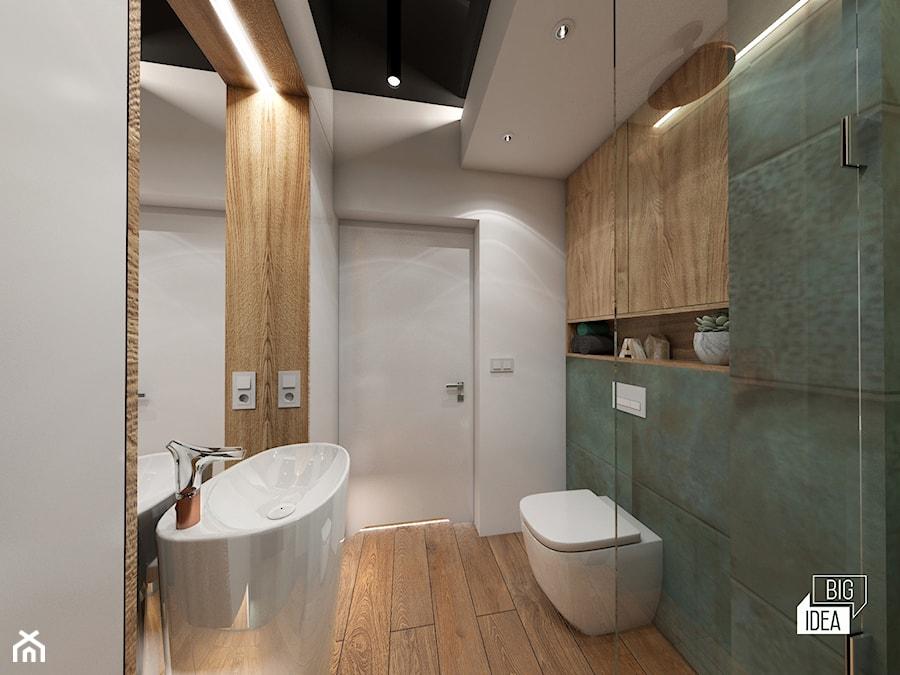 Projekt willi 300 m2 cz. II / Bochnia - Średnia biała zielona łazienka bez okna, styl nowoczesny - zdjęcie od BIG IDEA studio projektowe