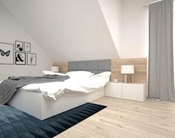 Projekt poddasza 45 m2 / Jabłonka - Duża biała sypialnia małżeńska na poddaszu, styl skandynawski - zdjęcie od BIG IDEA studio projektowe