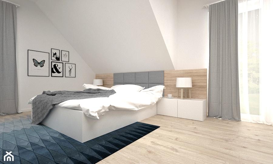 Aranżacje wnętrz - Sypialnia: Projekt poddasza 45 m2 / Jabłonka - Duża biała sypialnia małżeńska na poddaszu, styl skandynawski - BIG IDEA studio projektowe. Przeglądaj, dodawaj i zapisuj najlepsze zdjęcia, pomysły i inspiracje designerskie. W bazie mamy już prawie milion fotografii!