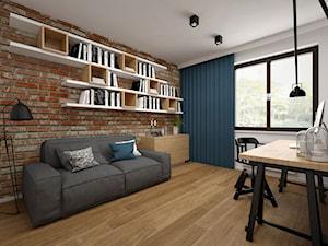Projekt mieszkania 85 m2 / Kraków - Duże szare biuro kącik do pracy w pokoju, styl skandynawski - zdjęcie od BIG IDEA studio projektowe