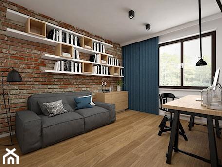 Aranżacje wnętrz - Biuro: Projekt mieszkania 85 m2 / Kraków - Duże szare biuro kącik do pracy w pokoju, styl skandynawski - BIG IDEA studio projektowe. Przeglądaj, dodawaj i zapisuj najlepsze zdjęcia, pomysły i inspiracje designerskie. W bazie mamy już prawie milion fotografii!