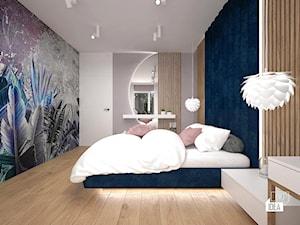 Projekt willi 300 m2 cz. II / Bochnia - Średnia biała szara niebieska sypialnia małżeńska, styl nowoczesny - zdjęcie od BIG IDEA studio projektowe