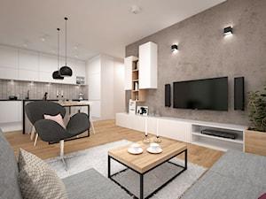 Projekt mieszkania 60 m2 / Kraków - Średni szary salon z bibiloteczką z kuchnią z jadalnią, styl minimalistyczny - zdjęcie od BIG IDEA studio projektowe