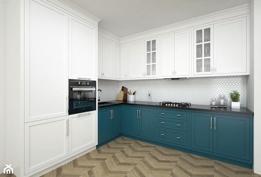 Projekt kuchni 16,4 m2 / Kraków - Duża zamknięta biała kuchnia w kształcie litery l w aneksie, styl klasyczny - zdjęcie od BIG IDEA studio projektowe