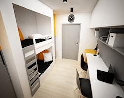 Projekt pokoju dla nastolatków 9m2 / Kraków - Mały biały pokój dziecka dla chłopca dla rodzeństwa dla nastolatka - zdjęcie od BIG IDEA studio projektowe
