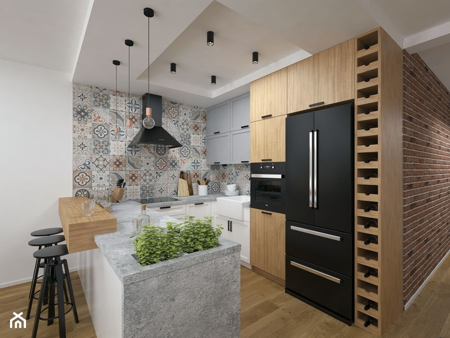 Projekt domu 90 m2 / Kraków - Średnia otwarta biała kolorowa kuchnia w kształcie litery u w aneksie, styl eklektyczny - zdjęcie od BIG IDEA studio projektowe