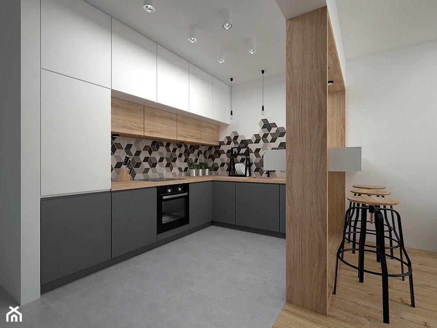 Projekt mieszkania 35 m2 / Kraków - Duża otwarta biała kuchnia w kształcie litery l, styl skandynawski - zdjęcie od BIG IDEA studio projektowe