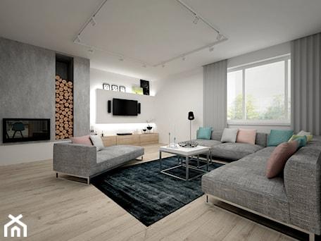 Aranżacje wnętrz - Salon: Projekt domu 70 m2 / Jabłonka - Duży szary biały salon, styl skandynawski - BIG IDEA studio projektowe. Przeglądaj, dodawaj i zapisuj najlepsze zdjęcia, pomysły i inspiracje designerskie. W bazie mamy już prawie milion fotografii!