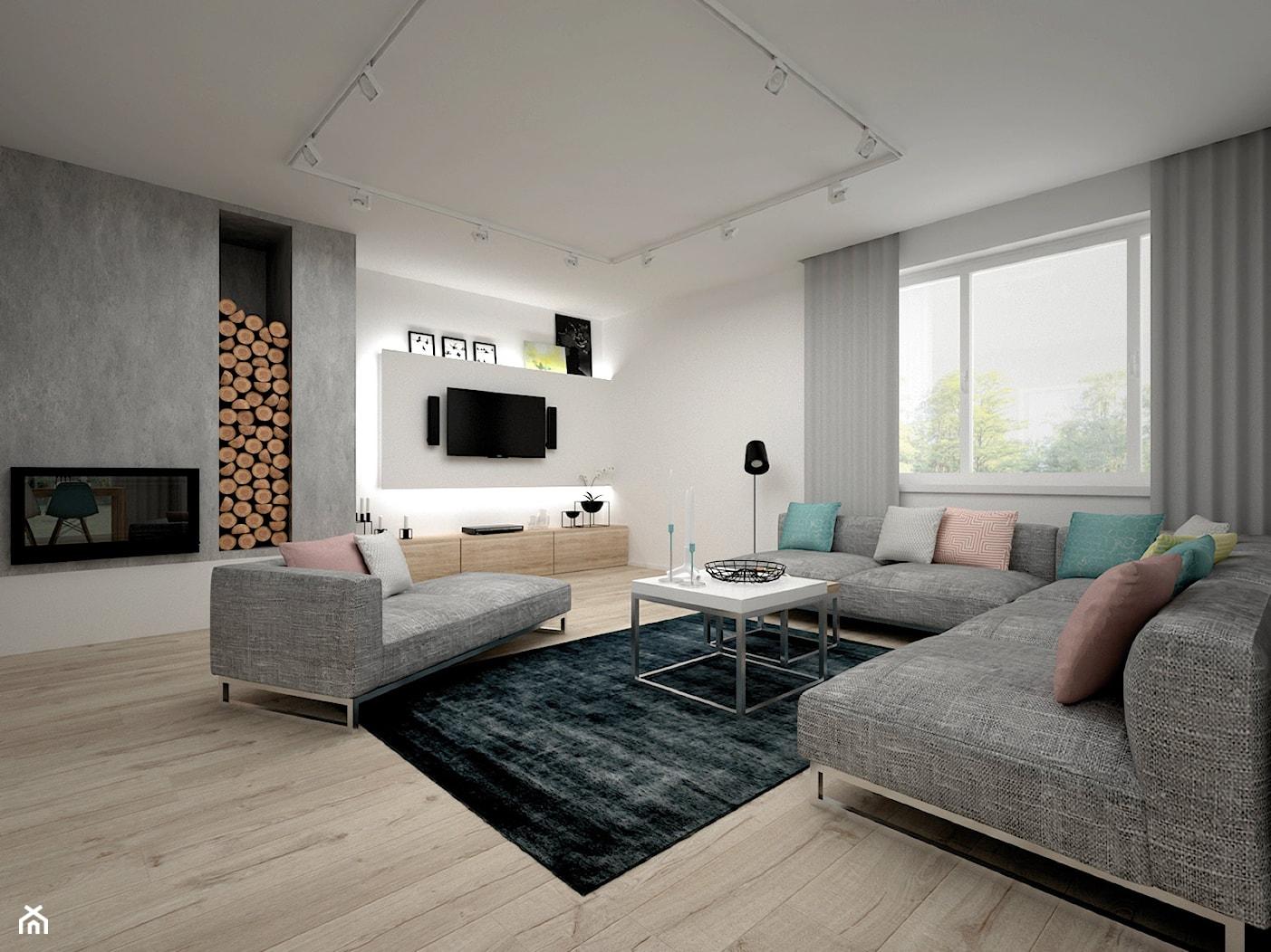 Projekt domu 70 m2 / Jabłonka - Duży szary biały salon, styl skandynawski - zdjęcie od BIG IDEA studio projektowe - Homebook