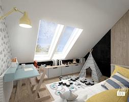 Projekt domu 107,52 m2 / Wieliczka - Średni biały szary czarny pokój dziecka dla chłopca dla dziewczynki dla ucznia dla malucha, styl skandynawski - zdjęcie od BIG IDEA studio projektowe - Homebook