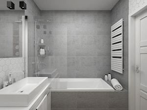 Projekt łazienki 5 m2 / Kraków - Mała biała szara łazienka w bloku bez okna, styl minimalistyczny - zdjęcie od BIG IDEA studio projektowe