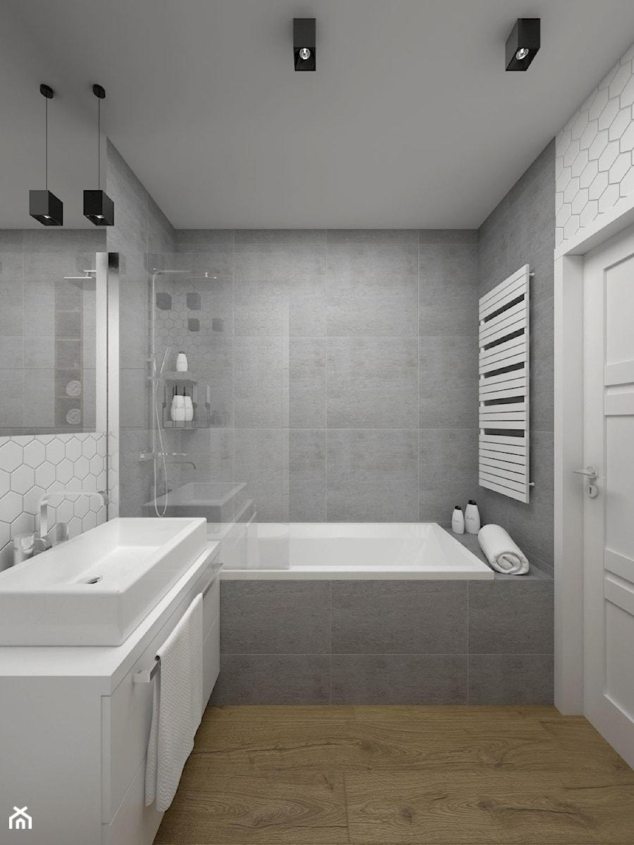 Projekt łazienki 5 M2 Kraków Mała Biała Szara łazienka W