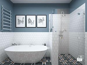 Projekt mieszkania w kamienicy 90 m2 / Kraków - Średnia niebieska łazienka w bloku w domu jednorodzinnym bez okna, styl eklektyczny - zdjęcie od BIG IDEA studio projektowe