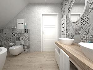 Projekt poddasza 45 m2 / Jabłonka - Średnia biała łazienka na poddaszu, styl skandynawski - zdjęcie od BIG IDEA studio projektowe