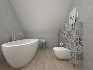 Projekt poddasza 45 m2 / Jabłonka - Średnia szara łazienka bez okna, styl skandynawski - zdjęcie od BIG IDEA studio projektowe