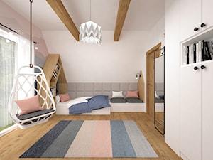Pokoje dla dzieci 17 + 17 m2 / Nowy Targ - Średni beżowy kolorowy pokój dziecka dla chłopca dla dziewczynki dla malucha dla nastolatka, styl nowoczesny - zdjęcie od BIG IDEA studio projektowe