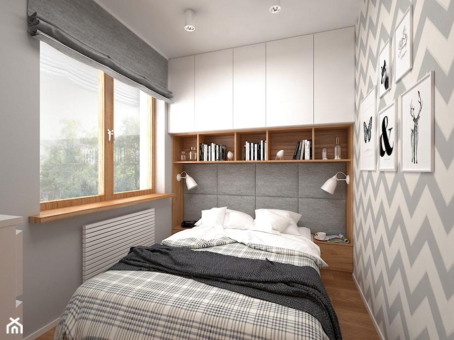 Projekt mieszkania 30 m2 / Kraków - Mała biała szara sypialnia dla gości, styl skandynawski - zdjęcie od BIG IDEA studio projektowe