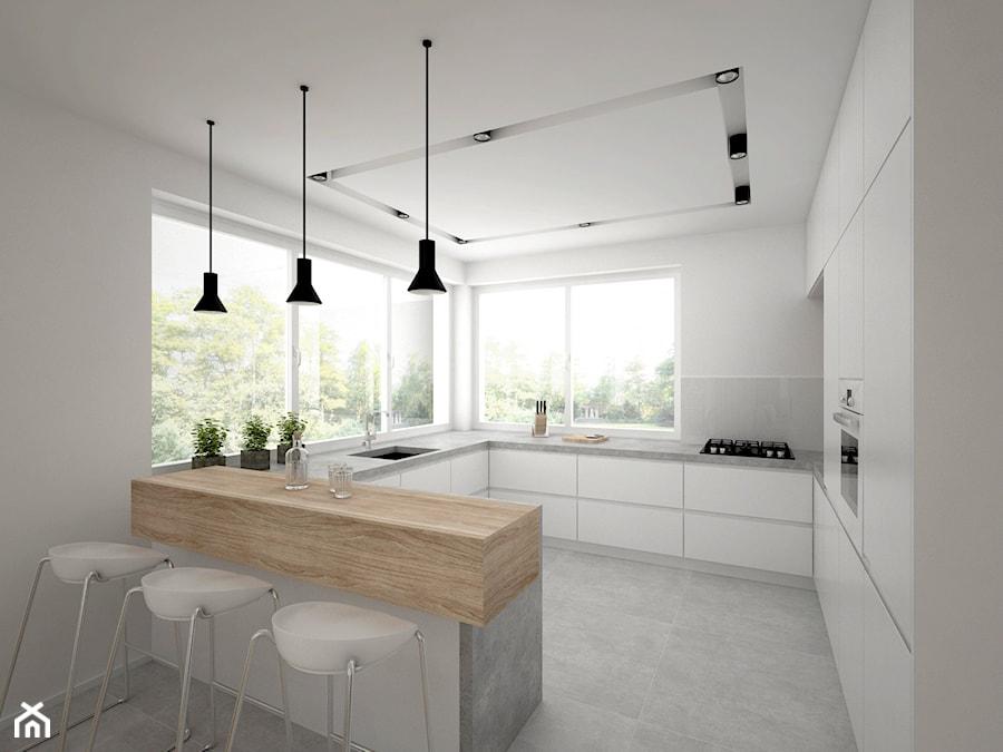 Projekt domu 70 m2 / Jabłonka - Duża otwarta biała kuchnia w kształcie litery g z wyspą, styl skandynawski - zdjęcie od BIG IDEA studio projektowe