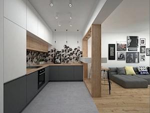 Projekt mieszkania 35 m2 / Kraków - Średnia otwarta biała szara kuchnia w kształcie litery l w aneksie, styl skandynawski - zdjęcie od BIG IDEA studio projektowe