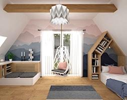 Pokoje dla dzieci 17 + 17 m2 / Nowy Targ - Średni biały szary pokój dziecka dla chłopca dla dziewczynki dla nastolatka, styl nowoczesny - zdjęcie od BIG IDEA studio projektowe