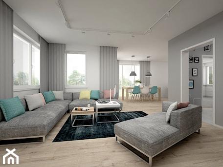 Aranżacje wnętrz - Salon: Projekt domu 70 m2 / Jabłonka - Średni szary biały salon, styl skandynawski - BIG IDEA studio projektowe. Przeglądaj, dodawaj i zapisuj najlepsze zdjęcia, pomysły i inspiracje designerskie. W bazie mamy już prawie milion fotografii!
