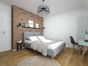 Projekt domu 90 m2 / Kraków - Średnia biała czerwona sypialnia małżeńska na poddaszu, styl eklektyczny - zdjęcie od BIG IDEA studio projektowe