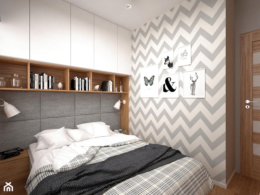 Projekt mieszkania 30 m2 / Kraków - Mała biała szara sypialnia małżeńska, styl skandynawski - zdjęcie od BIG IDEA studio projektowe