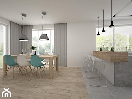 Aranżacje wnętrz - Jadalnia: Projekt domu 70 m2 / Jabłonka - Średnia otwarta biała jadalnia w kuchni, styl skandynawski - BIG IDEA studio projektowe. Przeglądaj, dodawaj i zapisuj najlepsze zdjęcia, pomysły i inspiracje designerskie. W bazie mamy już prawie milion fotografii!