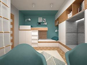 Projekt mieszkania 30 m2 / Kraków - Średni szary zielony pokój dziecka dla chłopca dla dziewczynki dla rodzeństwa dla ucznia dla nastolatka, styl nowoczesny - zdjęcie od BIG IDEA studio projektowe