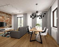 Projekt mieszkania 85 m2 / Kraków - Duży beżowy salon z jadalnią, styl skandynawski - zdjęcie od BIG IDEA studio projektowe