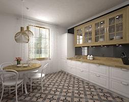 Projekt kuchni 21 m2 / Bochnia - Średnia biała czarna kuchnia jednorzędowa, styl rustykalny - zdjęcie od BIG IDEA studio projektowe