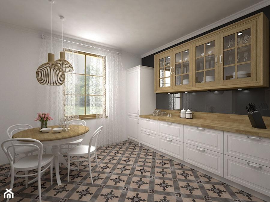 Kuchnia rustykalna  Średnia kuchnia jednorzędowa, styl   -> Kuchnia Rustykalna Nowoczesna